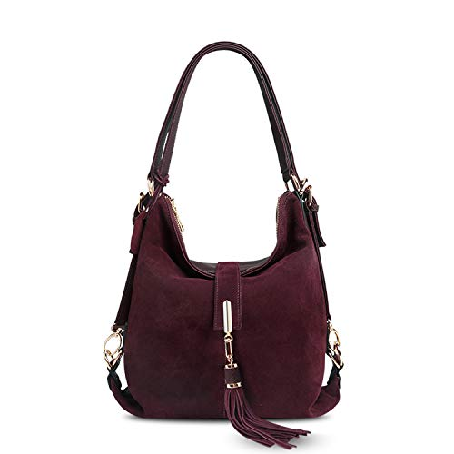 Chibi-store Women Real Split Suede Leather Shoulder Bag Female Leisure Nubuck Casual Handbag Hobo,Dark purple,