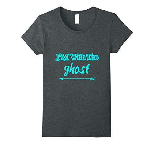 Womens Here with Ghost Funny Halloween Couple BFF Matching Tshirt Large Dark Heather