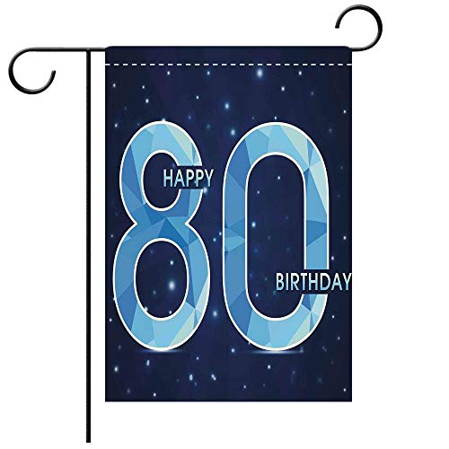 Artistically Designed Yard Flags, Double Sided 80th Birthday Decorations Diamond Age 80 Happy Birthday Party Theme with Stars Navy Decorative Deck, patio, Porch, Balcony Backyard, Garden or Lawn]()