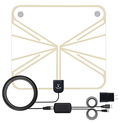 Amplified Indoor HDTV Antenna 50-80 Miles Range, Digital HDTV Antenna, Detachable Amplifier Long Range Indoor TV Antenna 1080P,16.4ft Long Coaxial Cable (Digital Antenna For Camper)