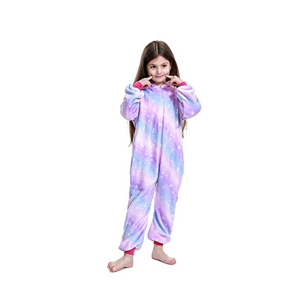 FuRobes Kids Unicorn Onesie Pajamas,One Piece Children Cosplay Animal Costume Halloween Sleepwear for Girls and Boys Gift 7