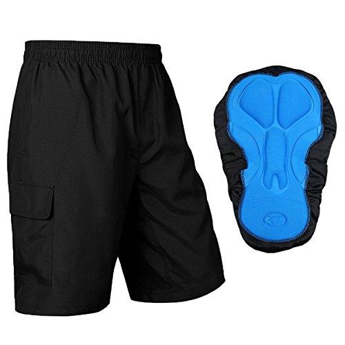 Baleaf Men's 3D Padded Mountain Bike Baggy Cargo Shorts Black Size M