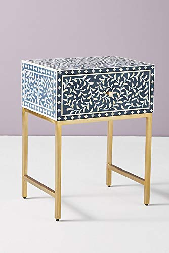 Scroll Vine Bone Inlay Handmade Night Stand Side Table in Blue