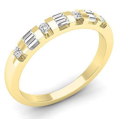 Dazzlingrock Collection 0.25 Carat (ctw) 10K Round & Baguette Cut Diamond Ladies Wedding Band 1/4 CT, Yellow Gold, Size 7.5