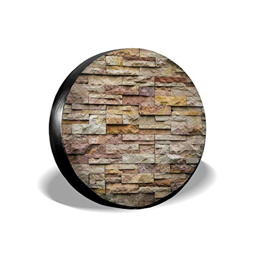 - GULTMEE Tire Cover Tire Cover Wheel Covers,Urban Brick Slate Stone Wall with Rocks Featured Facade Architecture Town Picture,for SUV Truck Camper Travel Trailer Accessories(14,15,16,17 Inch) 17