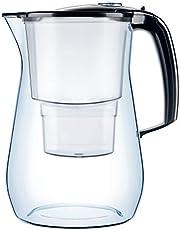 AQUAPHOR Onyx incl. 1 MAXFOR+ filterpatroon premium waterfilter in glaslook voor vermindering van kalk, chloor en zware metalen, kunststof, zwart, volume 4,2 l