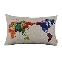 """20"""" x 12"""" Modern Fashion Watercolor World Map Navy Burlap Pillow Cases Cushion Covers (1)"""