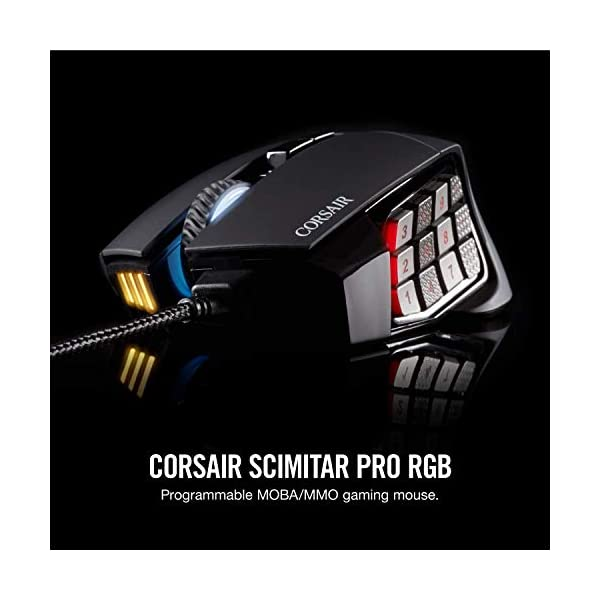 Corsair Scimitar Pro RGB - MMO Gaming Mouse - 16,000 DPI Optical Sensor - 12 Programmable Side Buttons - Black