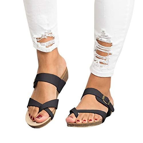 (Womens Cross Toe Double Buckle Strap Summer Leather Flat Mayari Sandals)