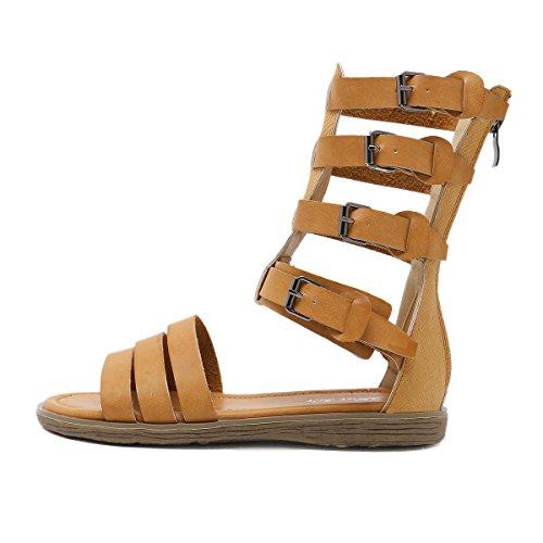 Zapato Brown Las Cinturón De Casuales Inferior Sandalias Grueso Mujeres Del Hebilla Cómodo Abierto xwS7vxrR