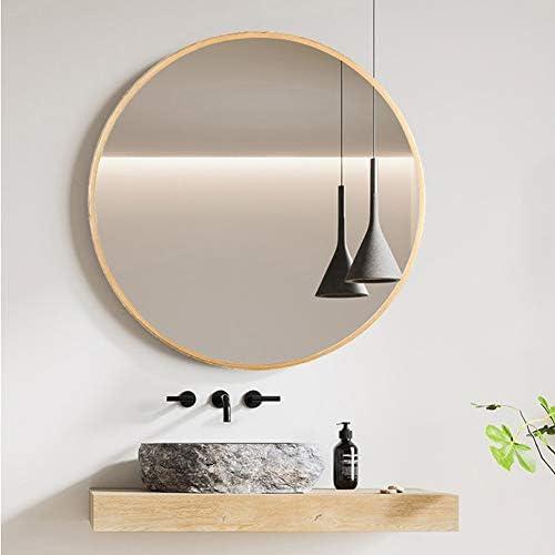 北欧のバスルームラウンドミラーバニティミラー浴室デコレーションハンギングミラーハンギング JZ02/27 (Color : Gold, Size : 50cm)