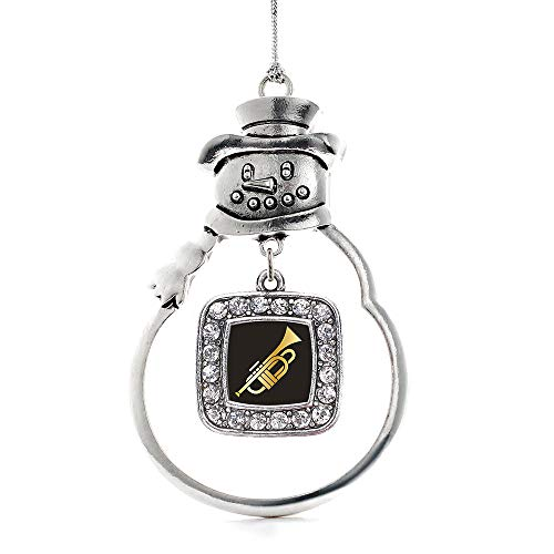 Inspired Silver - Trumpet Charm Ornament - Silver Square Charm Snowman Ornament with Cubic Zirconia Jewelry (Christmas Trumpet O Tree)