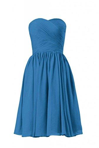 Daisyformals Courte Robe De Demoiselle D'honneur Longueur Genou Robe De Soirée En Mousseline De Soie (bm10824s) # 37 Bleu-royal