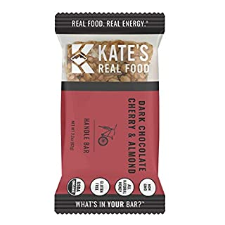 Kate's Real Food Granola Bars 12 Pack | Handle Bar Dark Chocolate Cherry & Almond | Clean Energy, Certified Organic, Gluten Free, Non GMO | All Natural Delicious Health Snack