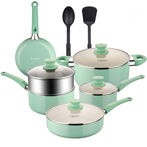 COOKSMARK Pots and Pans Set White Ceramic Coating Nonstick Aluminum Cookware Set With glass lids and Nylon Utensils Sauce Pan with Steamer Dishwasher Safe PTFE, PFOA Free 12-PCS Blue -