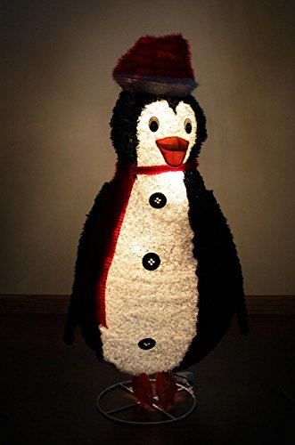 48'' Lighted Sparkling Tinsel and Sisal Penguin Christmas Yard Art Decoration by Sterling