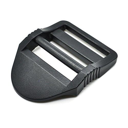 12pcs Plastic Ladder Lock Slider Buckle for Backpack Straps Black (Webbing Size 38mm)