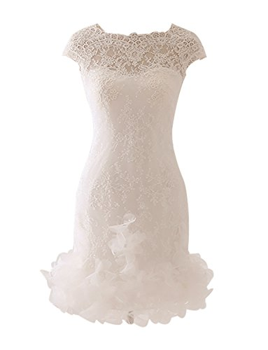 Erosebridal Illusion Lace Short Wedding Dresses with Sleeves Prom Wedding Party Gowns US 10 Ivory by Erosebridal