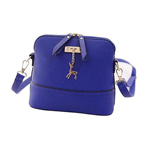 main Vintage Fami modèle Nouveau Femmes en Bleu sac cerf à cuir Casual BBq1SUw