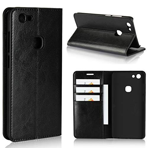 Torubia , Vivo V7 Case Wallet Leather, Vivo V7 Case with Card Holder and Kickstand, Vivo V7 Wallet Case with Protector, Protector Case Replacement for Vivo V7 Black