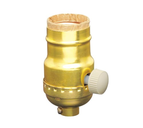 Leviton 6151 Incandescent Lamp Holder Socket Dimmer, Metal Finish, Brass Color