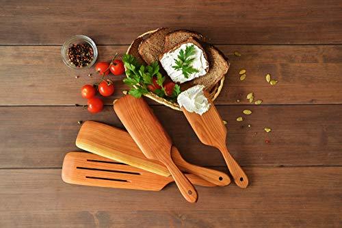Handmade Utensil Set of 4 Wooden Kitchen Utensils Spatula Cherry Wood Spurtle Kitchen Supplies by MyFancyCraft (Image #5)