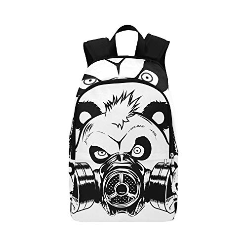 Bad Panda Gas Mask Vector Illustration Casual Daypack Travel Bag College School Backpack for Mens and Women (Vector Gas Mask)
