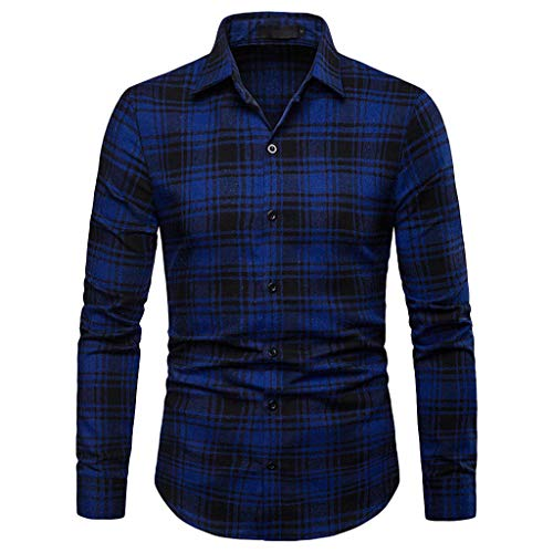 ef5304648a5 LEXUPA Men s t-shirts graphic Men s Long Sleeve Lattice Plaid Painting Large  Size