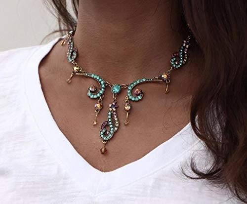Vintage Colorful Crystal Tassel Flower Statement Necklace for Women New Gold Color Pendant Collar Maxi Ethnic Jewelry (Set Coin Elephant)
