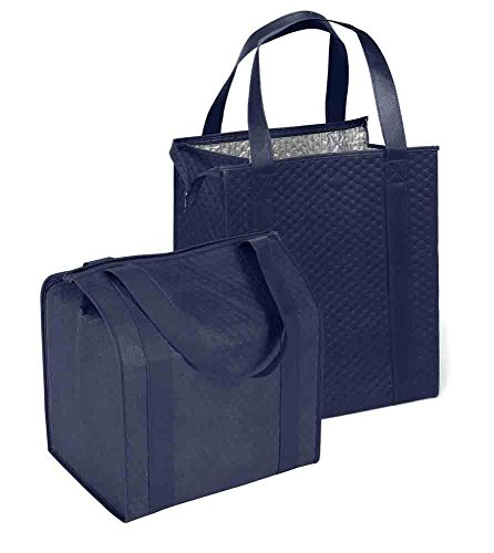 LARGE Hannah Insulated Shopping Bag, Navy 2 Pack - Strong Reusable Insulated Grocery Bag