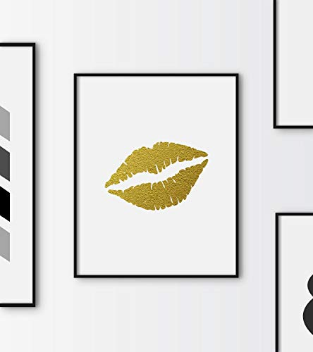 Dozili Gold Lips Printable Faux Gold Lips Gold Fashion Print Fashion and Beauty Print Ladies Print Gift for her Women's Room Wall Decor