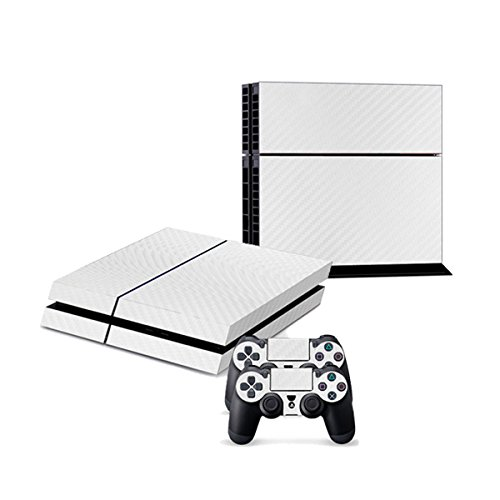 258stickers® Playstation 4 Console Skin & Remote Controllers Skin - White Carbon Fiber Vinyl Wrap Style