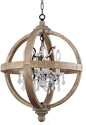 Decomust Farmhouse 4 Light Candle Style Globe Crystal