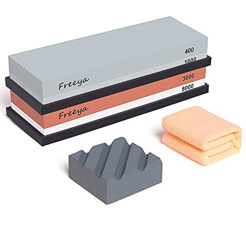 Complete Knife Sharpening Stone Set with Flattening Stone: Premium 400/1000 Grit Water Stone, 3000/8000 Grit Water Stone, Best Whetstone Knife Sharpener, Flattening Stone,NonSlip Silicone Holder,Towel