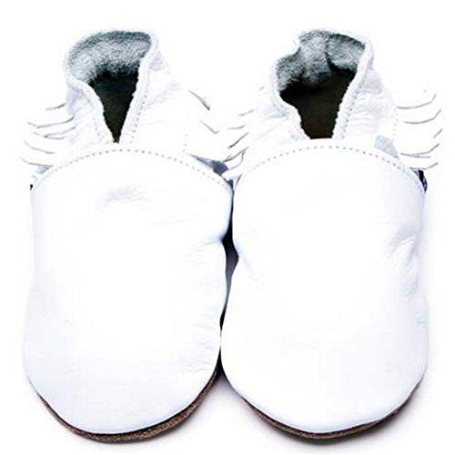 Inch Blue Mädchen/Jungen Schuhe für den Kinderwagen aus luxuriösem Leder - Weiche Sohle - Mokassins Weiß