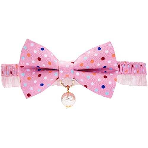 "Blueberry Pet 18 Designs Ultra Pink Polka Dot Breakaway Bowtie Cat Collar Lace Choker Necklace with Handmade Bow Tie and Pearl Charm, Safety Elastic Stretch Collar for Cats, Neck 8.5""-12"""