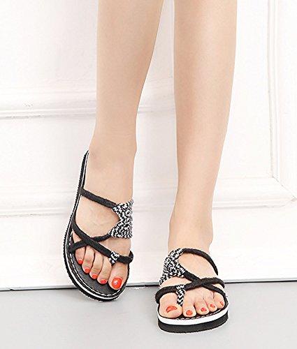 Chanclas Blanco de A Cruzadas Playa Negro Mujer con Sandalias Playa Moda Trenzas Zapatillas de Gladiador d65cqcHy7