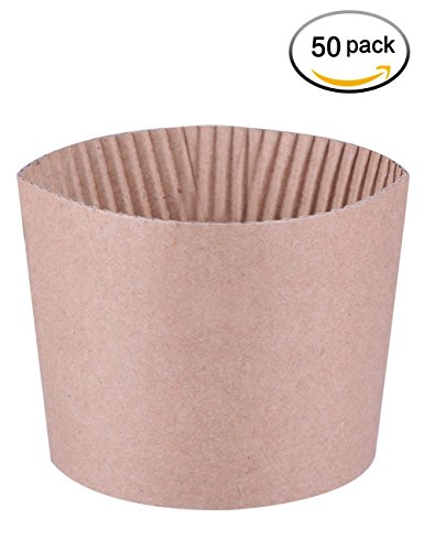 Luckypack Cup Sleeve Corrugated jacket Cafe Drink 12oz 16 oz 20 Ounce Disposable Paper Coffee Cup Sleeves Reusable Holder Cardboard for Hot Drinks 50 Count