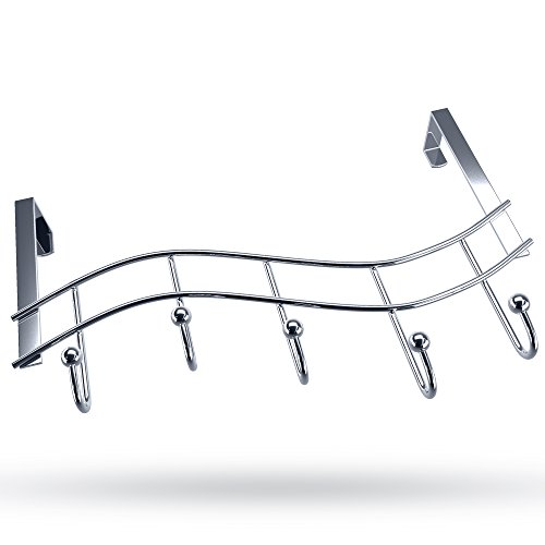 (Over the Door Rack with Hooks | 5 Hangers for Towels Coats Clothes Robes Ties Hats | Bathroom Closet Extra Long Heavy Duty Chrome Space Saver Mudroom Organizer by Kyle)