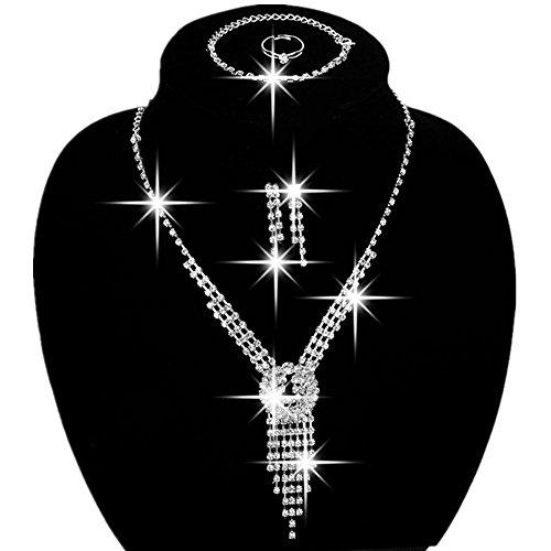 Sunshinesmile Bride Vintage Tassel Rhinestone Necklace + Earrings + Bracelet + Ring Bridal Jewelry