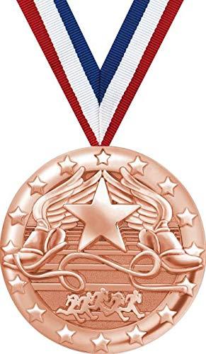 翼付きフットメダル 2インチ ブロンズ製 トラックチームメダル賞 プライム B07GDVFCHN