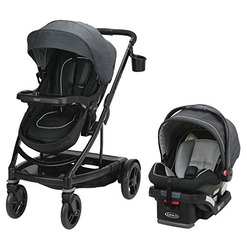 Graco Uno2Duo Travel System | Includes UNO2DUO Stroller and SnugRide SnugLock35 Infant Car Seat, Goes from Single to Double Stroller, Reece (Graco Stroller Travel)