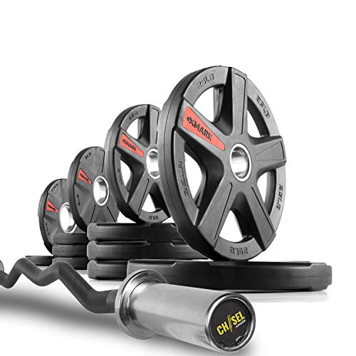 XMark Chisel Olympic Curl Bar with Texas Star 115 lb. Olympic Plate Weight Set, Notable Quality, Impressive Design, and Impeccable Craftsmanship