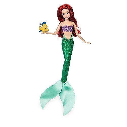 Disney Ariel Classic Doll with Flounder Figure - 11 1/2 Inch