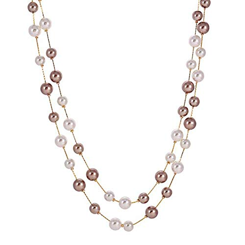 - Jude Jewelers Long Double Strand Faux Pearl Statement Cocktail Party Necklace (White Gold)