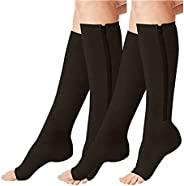 2 Pairs Compression Socks Toe Open Leg Support Stocking Knee High Socks with Zipper
