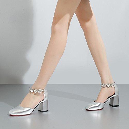 De Zapatos De Tamaño Color 37 Zapatos Otoño Poco Flores De Hebilla Tacones Femenina De Mujer Plata Profunda Cuero La Huecos De Moda De Altos YUBIN Cabeza Zapatos De Grueso Boca con nqw0YCqP
