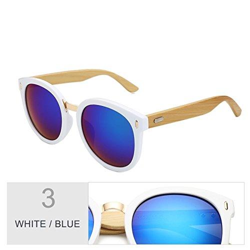 Negro Caja Espejo Para Redondo TIANLIANG04 White Color Mujer Regalo Con Gafas La Sol Gradual De De Gris Blue IvOqF