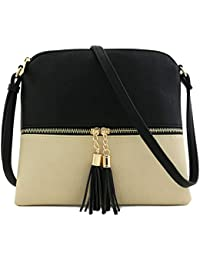 Lightweight Colorblock Medium Crossbody Bag with Tassel