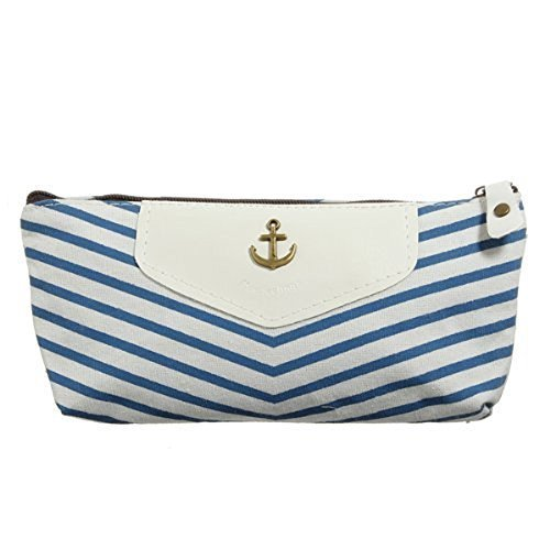 Eforstore New Cute Canvas Navy Style Pen Pencil Pouch Case H